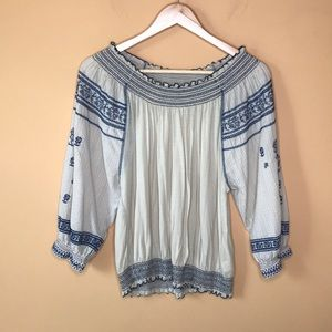 Free People Embroidered Smocked Off the Shoulder